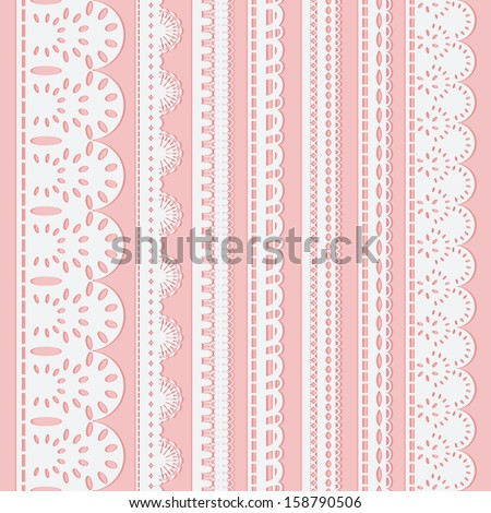Set of seven seamless white lace ribbons isolated on a pink background. Vector illustration - stock vector