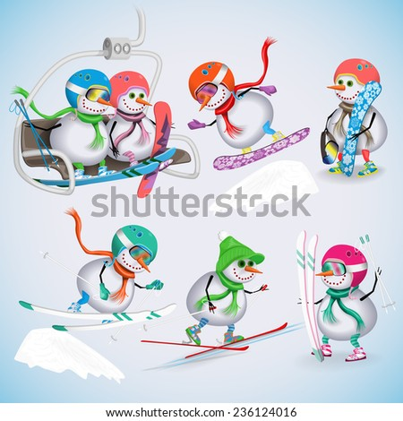 Set of seven snowman on a ski vacation. Snowmen rise to the ski lifts, skiing, snowboarding. Winter fun. Vector illustration. - stock vector