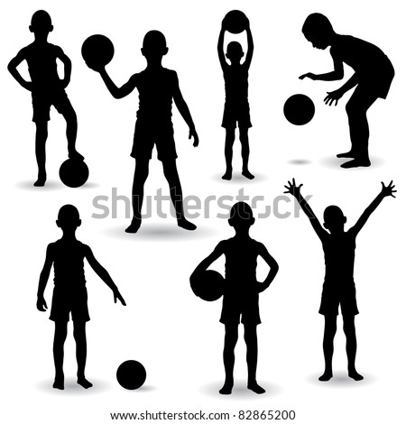Set of seven young boys playing with ball - stock vector