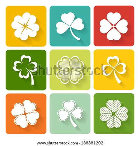 Set of shamrock and clover icons on colorful square buttons conceptual of the Irish and good luck - stock vector