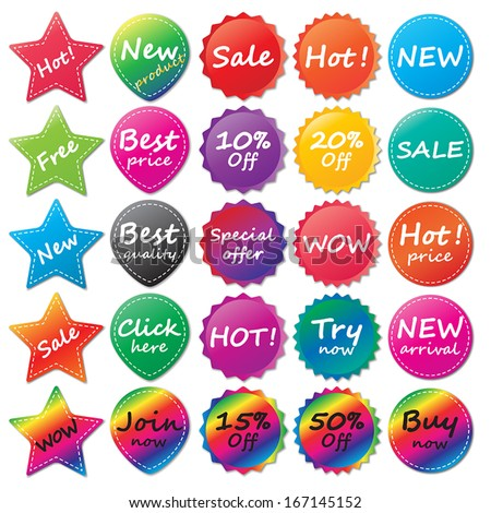 set of shaped and colored stickers. stickers for website. vector. - stock vector