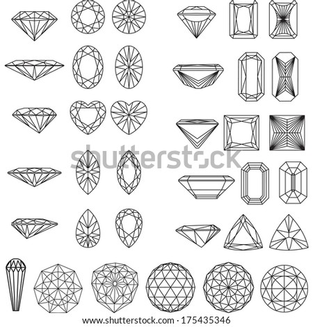 Set of shapes of diamond in wireframe - stock vector