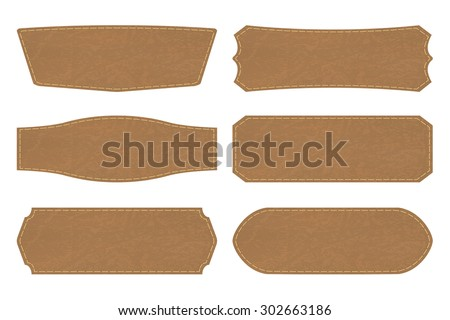 Set of 6 shapes of leather  tag or leather sign labels on white background. Vector illustration - stock vector