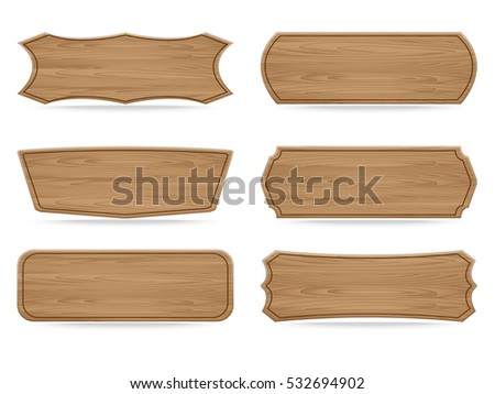 Set of 6 shapes wooden sign boards. Vector illustration