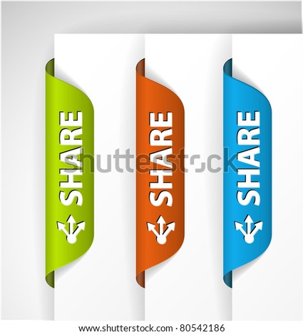 Set of share Labels / Stickers on the edge of the (web) page - stock vector
