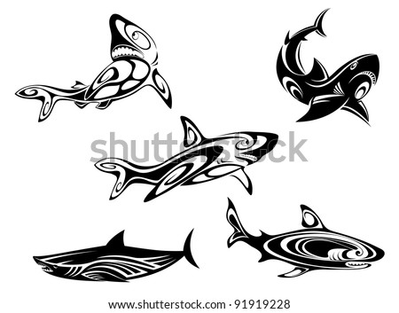 Set of shark tattoos in tribal style isolated on white background, such a logo. Jpeg version also available in gallery - stock vector