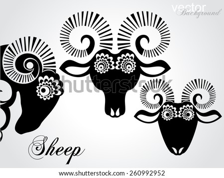Set of sheep icon isolated on white background. Black and White color. Vector illustration - stock vector