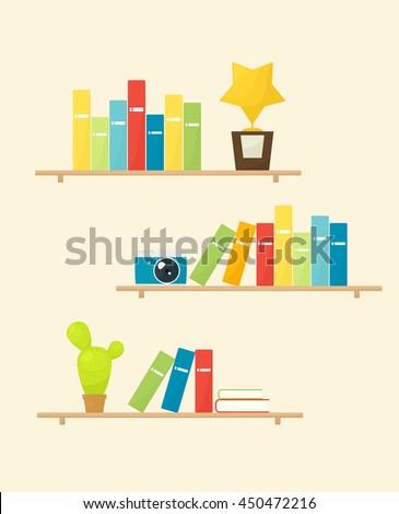 Set of shelves - stock vector
