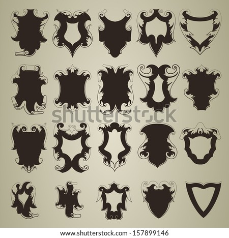 Set of shield - stock vector