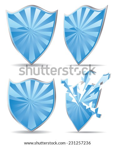 Set of shields of blue color, protection concept. - stock vector