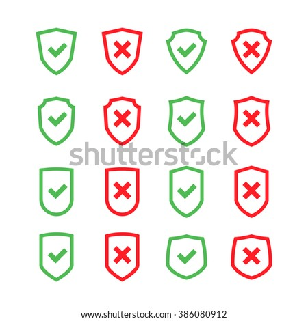Set of shields with checkmark symbol in flat design style isolated on a white background. Vector web icons - stock vector