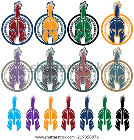 set of shields with spartan warrior - stock vector