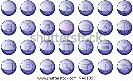 Set of 20 Shinny High Quality Web Site Buttons Symbols Vector - stock vector