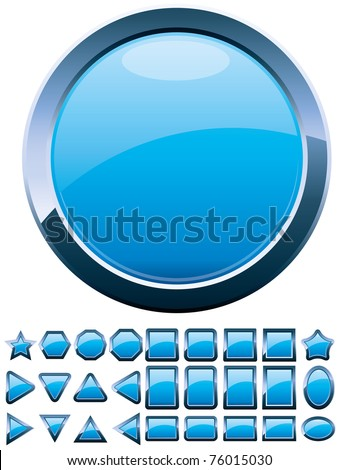 Set of 28 shiny blue glass buttons, glossy icons, web spheres, vector illustration