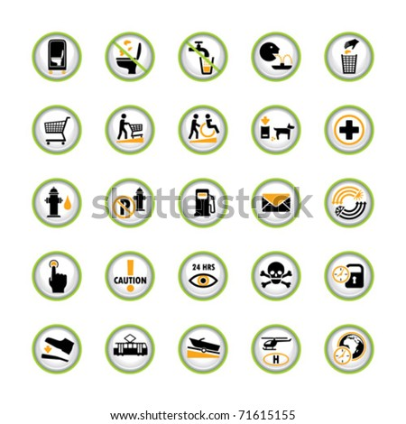 Set of shiny buttons with miscellaneous pictograms - stock vector