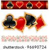 Set of shiny card suit icons in black and red, vector illustration - stock vector