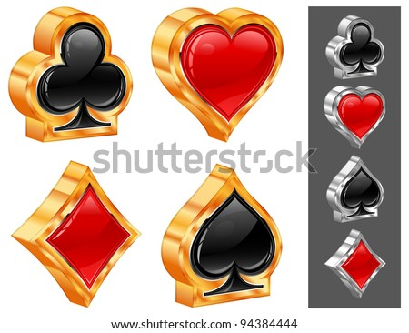 Set of shiny card suit icons in black and red, vector illustration