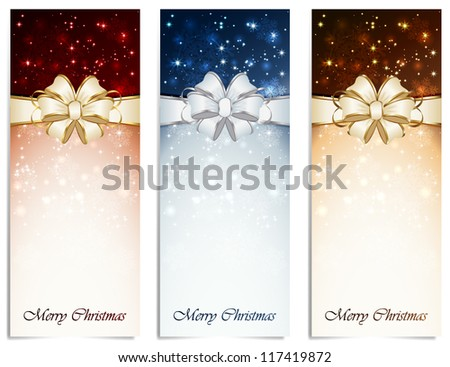 Set of shiny Christmas cards with bow, snowflakes and blurry lights, illustration.