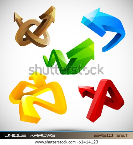 Set of Shiny 3D Arrows | EPS10 Compatibility Required - stock vector
