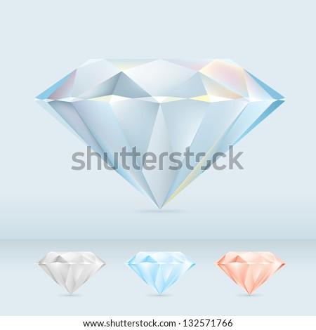 Set of Shiny Diamond Jewels - stock vector