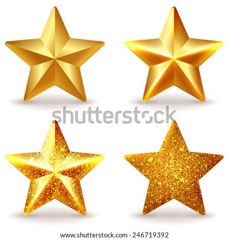 Set of shiny golden stars, isolated on white - stock vector