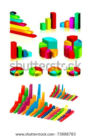 set of shiny graphics and diagrams - stock vector