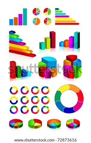 set of shiny graphics and diagrams on white background. EPS v.8.0 - stock vector