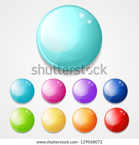 set of shiny round buttons - stock vector
