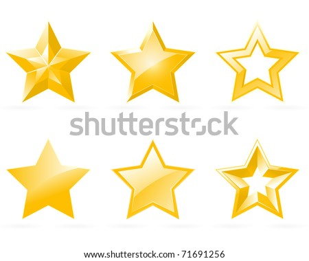 Set of shiny star icons in different style - stock vector