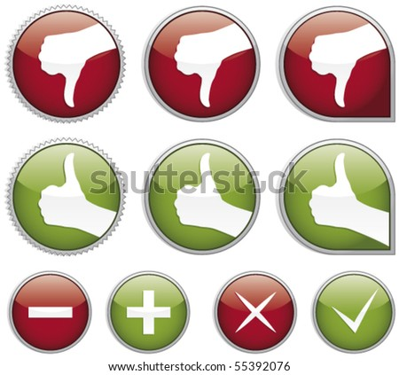 Set of shiny thumbs up buttons - stock vector