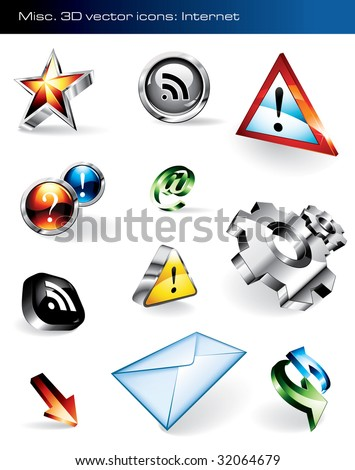 Set of 11 shiny vector icons for websites. Please visit my portfolio to find similar graphics. - stock vector