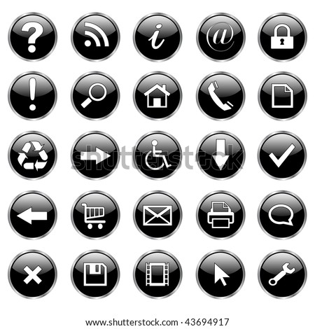 Set of 25 shiny, web buttons, icons - black glass. - stock vector