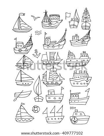 Set of ships, sketch for your design - stock vector