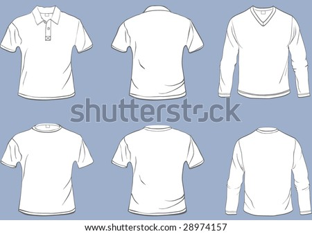 Set of shirt templates with front and back in separate easily editable layers - stock vector