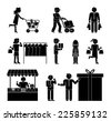 Set of shoppers and shopping icons showing a woman with a trolley  dispatch  choosing clothes  delivery  gift  promotion  packaging  and ordering  in black and white silhouettes of men and women - stock