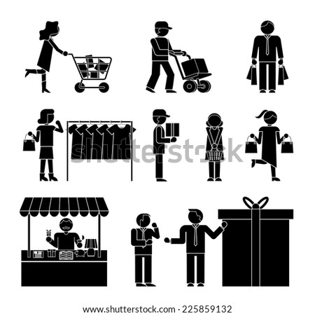 Set of shoppers and shopping icons showing a woman with a trolley  dispatch  choosing clothes  delivery  gift  promotion  packaging  and ordering  in black and white silhouettes of men and women - stock vector