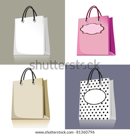 Set of shopping bags in different design and colors - stock vector