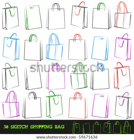 Set of 30 shopping bags. Vector illustration.
