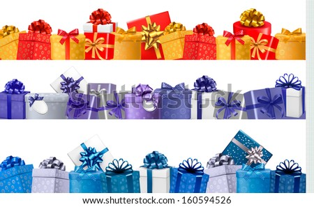 Set of shopping banners with gift colorful boxes with bow and ribbons. Vector - stock vector