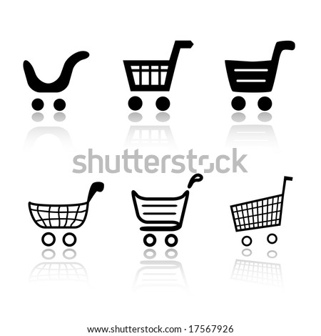 Set of 6 shopping cart icon variations - stock vector