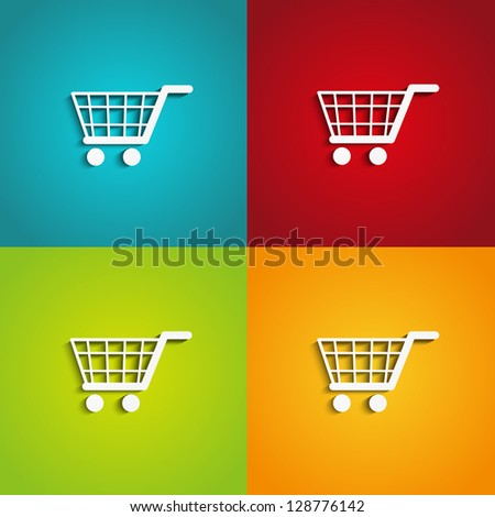 Set of shopping carts on color backgrounds - stock vector