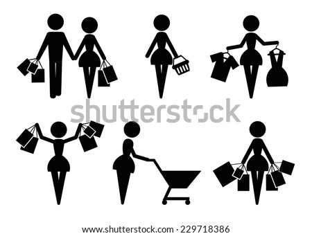 Set of 6 shopping vector icons - stock vector