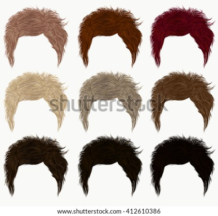 set of  short hairs  different colors .fringe - stock vector