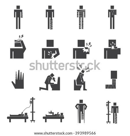 set of sick icon vector - stock vector