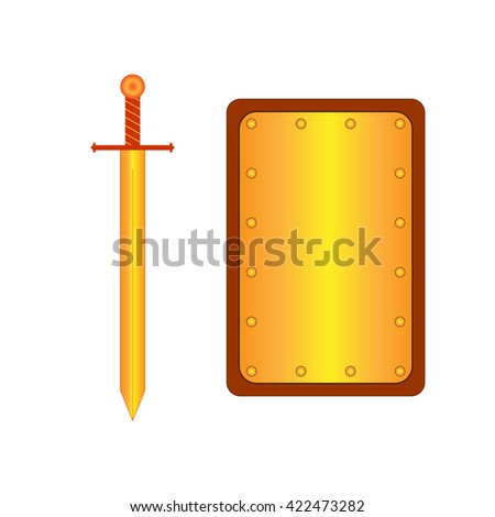 Set of sign rectangle shield and sword gold. Combat icon isolated on white background. Mark with volume effect. Symbol of a bronze elements. Logo for military and security. Stock vector illustration - stock vector