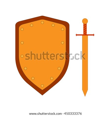 Set of sign shield and sword gold. Combat colorful icon isolated on white background. Flat mark. Symbol of a bronze elements. Logo for military and security. Stock vector illustration - stock vector