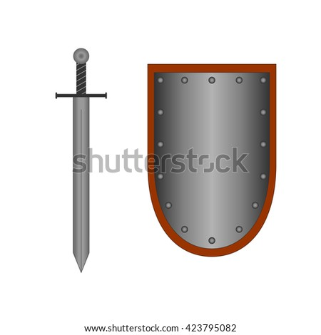 Set of sign shield and sword silver. Combat icon isolated on white background. Mark with volume effect. Symbol of a steel elements. Logo for military and security. Stock vector illustration - stock vector