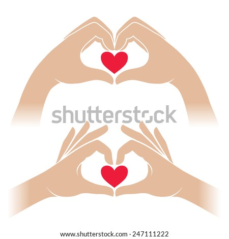 Set of sign two hands form a heart shape, and keep a small red heart. Vector illustration - stock vector