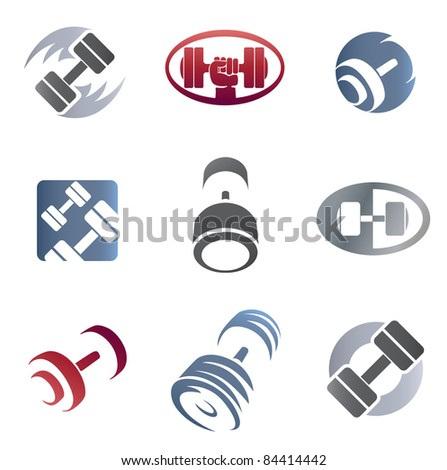 Set of sign weights for fitness or gym emblem - stock vector