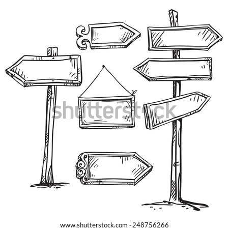 Set of signboards. Hand drawn.  - stock vector